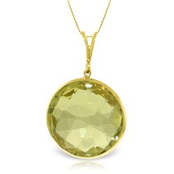 Genuine 17 ctw Quartz Lemon Necklace Jewelry 14KT Yellow Gold - REF-44R4P