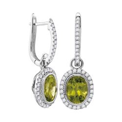 3 CTW Natural Peridot Diamond Oval Dangle Earrings 14KT White Gold - REF-98N8F