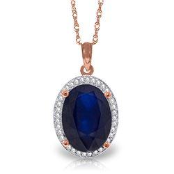 Genuine 6.58 ctw Sapphire & Diamond Necklace Jewelry 14KT Rose Gold - REF-103M5T