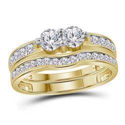 0.99 CTW Diamond 2-stone Bridal Wedding Engagement Ring 14KT Yellow Gold - REF-112F5N