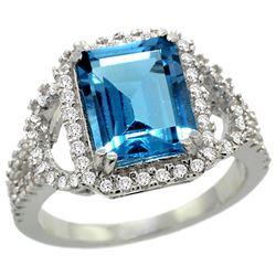 Natural 3.08 ctw swiss-blue-topaz & Diamond Engagement Ring 14K White Gold - REF-106G3M