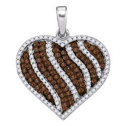 1.5 CTW Cognac-brown Color Diamond Heart Pendant 10KT White Gold - REF-52H4M