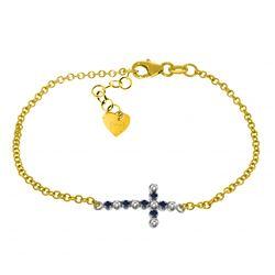 Genuine 0.24 ctw Sapphire & Diamond Bracelet Jewelry 14KT Yellow Gold - REF-57V6W
