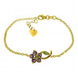 Genuine 0.87 ctw Peridot & Amethyst Bracelet Jewelry 14KT Yellow Gold - REF-50Z5N
