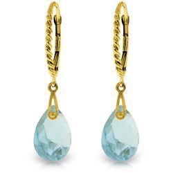 Genuine 6 ctw Blue Topaz Earrings Jewelry 14KT Yellow Gold - REF-30X6M