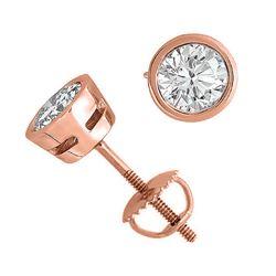 14K Rose Gold 2.01 ctw Natural Diamond Stud Earrings - REF-519K2Y-WJ13274