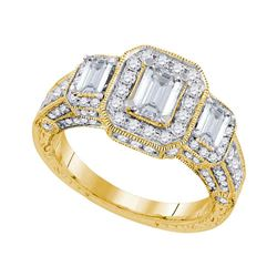 2 CTW Emerald Diamond 3-stone Bridal Engagement Ring 14KT Yellow Gold - REF-420F2N