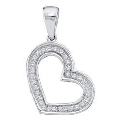 0.10 CTW Diamond Heart Love Pendant 14KT White Gold - REF-12K2W