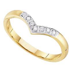 0.07 CTW Diamond Chevron Ring 14KT Yellow Gold - REF-10N5F