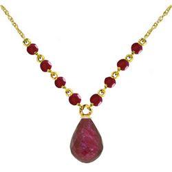 Genuine 15.8 ctw Ruby Necklace Jewelry 14KT Yellow Gold - REF-37X2M