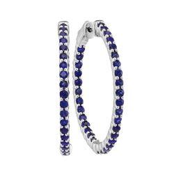 2.33 CTW Natural Blue Sapphire Hoop Earrings 14KT White Gold - REF-82N4F
