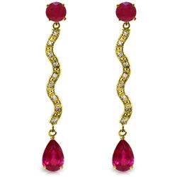 Genuine 4.35 ctw Ruby & Diamond Earrings Jewelry 14KT Yellow Gold - REF-73T6A