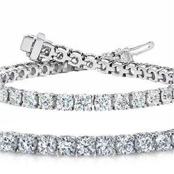 Natural 7.04ct VS-SI Diamond Tennis Bracelet 18K White Gold - REF-672M5X