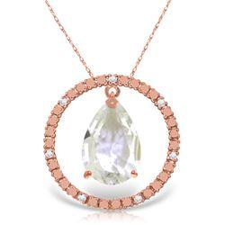 Genuine 6.6 ctw White Topaz & Diamond Necklace Jewelry 14KT Rose Gold - REF-52N9R