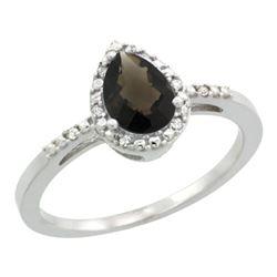 Natural 1.53 ctw smoky-topaz & Diamond Engagement Ring 10K White Gold - REF-18K9R