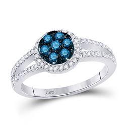 0.45 CTW Blue Color Diamond Cluster Ring 10KT White Gold - REF-37H5M