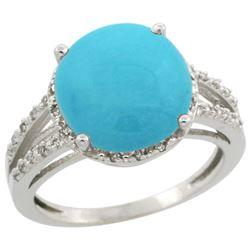 Natural 5.34 ctw Turquoise & Diamond Engagement Ring 10K White Gold - REF-50A2V