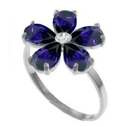 Genuine 2.22 ctw Sapphire & Diamond Ring Jewelry 14KT White Gold - REF-42V2W