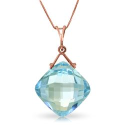 Genuine 8.75 ctw Blue Topaz Necklace Jewelry 14KT Rose Gold - REF-21T4A
