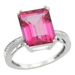 Natural 5.42 ctw Pink-topaz & Diamond Engagement Ring 14K White Gold - REF-61V9F