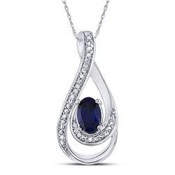 0.52 CTW Oval Created Blue Sapphire Solitaire Diamond Pendant 10KT White Gold - REF-10M5H