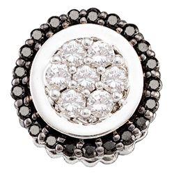 0.33 CTW Black Color Diamond Framed Flower Cluster Pendant 14KT White Gold - REF-25X4Y