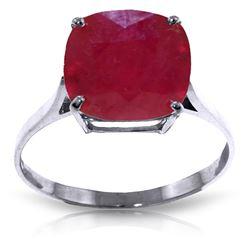 Genuine 6.75 ctw Ruby Ring Jewelry 14KT White Gold - REF-70W6Y