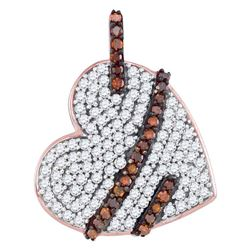 0.34 CTW Red Color Diamond Lasso Heart Love Pendant 10KT Rose Gold - REF-26H9M