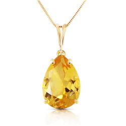 Genuine 5 ctw Citrine Necklace Jewelry 14KT Yellow Gold - REF-30X3M