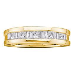 1 CTW Mens Diamond Wedding Ring 14KT Yellow Gold - REF-165K2W