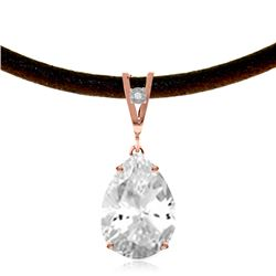 Genuine 6.01 ctw White Topaz & Diamond Necklace Jewelry 14KT Rose Gold - REF-32T3A