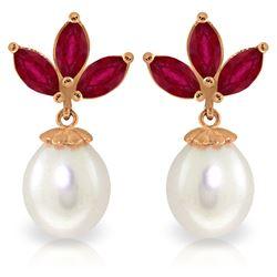 Genuine 9.5 ctw Ruby & Pearl Earrings Jewelry 14KT Rose Gold - REF-35F2Z