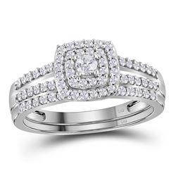 0.50 CTW Diamond Split-shank Bridal Engagement Ring 10KT White Gold - REF-44N9F