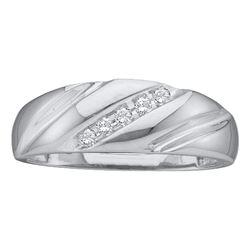 0.10 CTW Diamond Mens Wedding Anniversary Ring 10KT White Gold - REF-14W9K