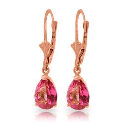 Genuine 2.85 ctw Pink Topaz Earrings Jewelry 14KT Rose Gold - REF-29W3Y