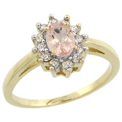 Natural 0.64 ctw Morganite & Diamond Engagement Ring 14K Yellow Gold - REF-49G7M