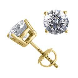 14K Yellow Gold 2.02 ctw Natural Diamond Stud Earrings - REF-519V2G-WJ13334