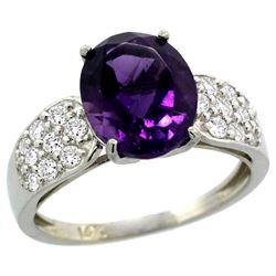 Natural 2.75 ctw amethyst & Diamond Engagement Ring 14K White Gold - REF-58F4N