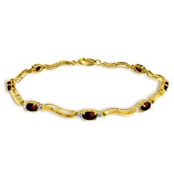 Genuine 2.01 ctw Garnet & Diamond Bracelet Jewelry 14KT Yellow Gold - REF-76F7Z