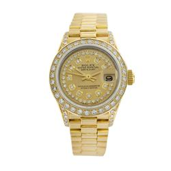 Rolex Pre-owned 26mm Womens String Champagne 18K Gold - REF-1140H2N