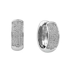 0.50 CTW Pave-set Diamond Huggie Hoop Earrings 10KT White Gold - REF-41H9M