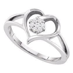 0.08 CTW Diamond Heart Flower Cluster Ring 10KT White Gold - REF-20Y9X