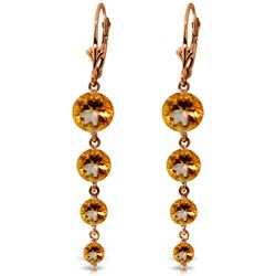 Genuine 7.8 ctw Citrine Earrings Jewelry 14KT Rose Gold - REF-46X3M