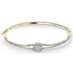 1 CTW Princess Diamond Soleil Bangle Bracelet 14KT Yellow Gold - REF-127Y4X