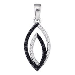 1 CTW Black Color Diamond Oval Pendant 10KT White Gold - REF-12N2F