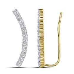 0.75 CTW Diamond Climber Earrings 10KT Yellow Gold - REF-59N9F