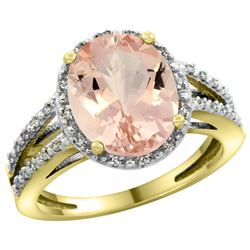 Natural 3.09 ctw Morganite & Diamond Engagement Ring 10K Yellow Gold - REF-66V4F