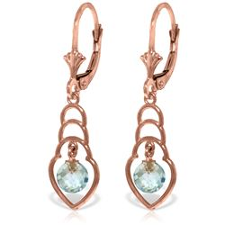 Genuine 1.25 ctw Blue Topaz Earrings Jewelry 14KT Rose Gold - REF-25K6V
