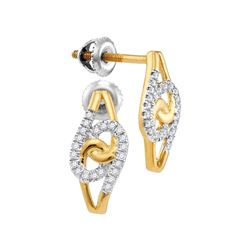 0.12 CTW Diamond Swirl Screwback Earrings 10KT Yellow Gold - REF-14H9M