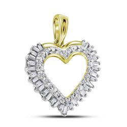 0.27 CTW Diamond Heart Outline Pendant 14KT Yellow Gold - REF-22Y4X